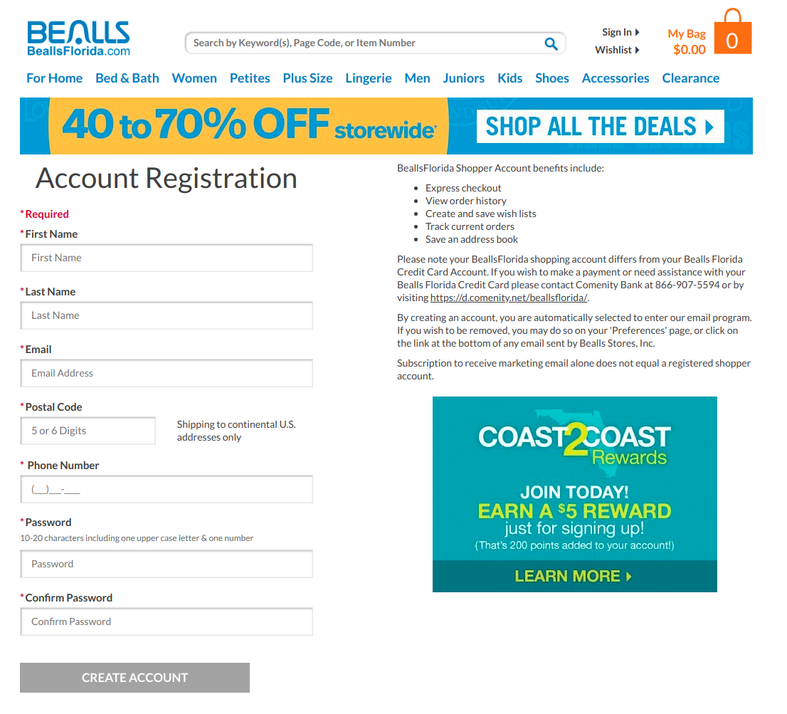 Bealls Florida Account Registration