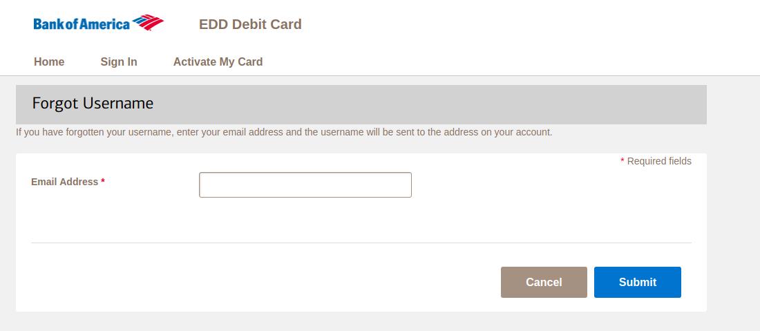 EDD Debit Card Forgot Username