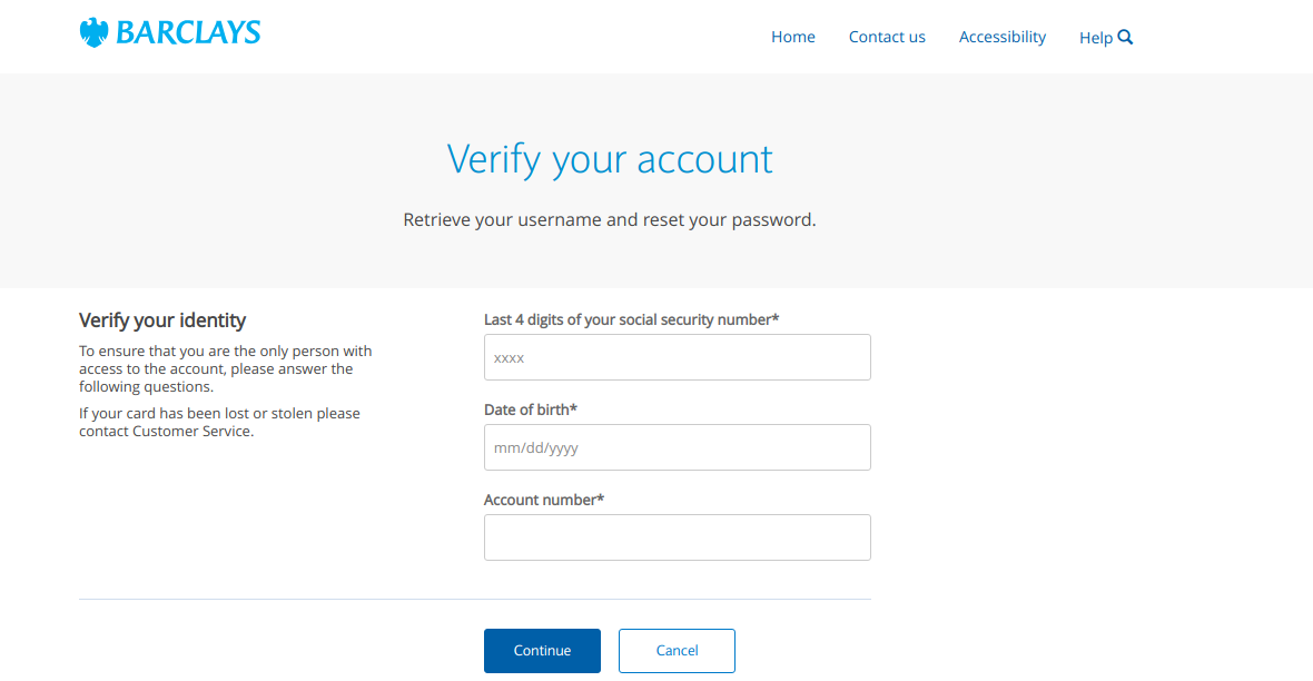 Forgot username or password Verify identity