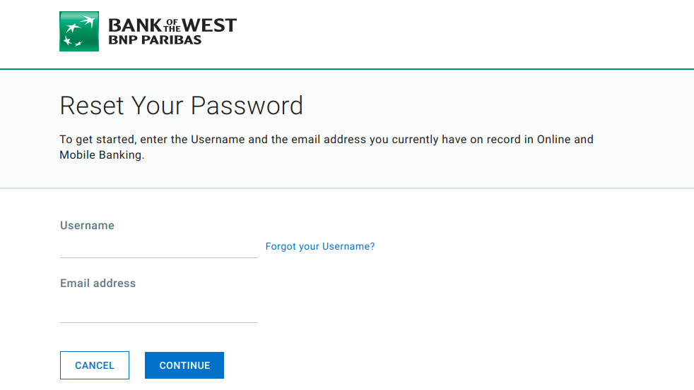Reset Your Password Bank of the West