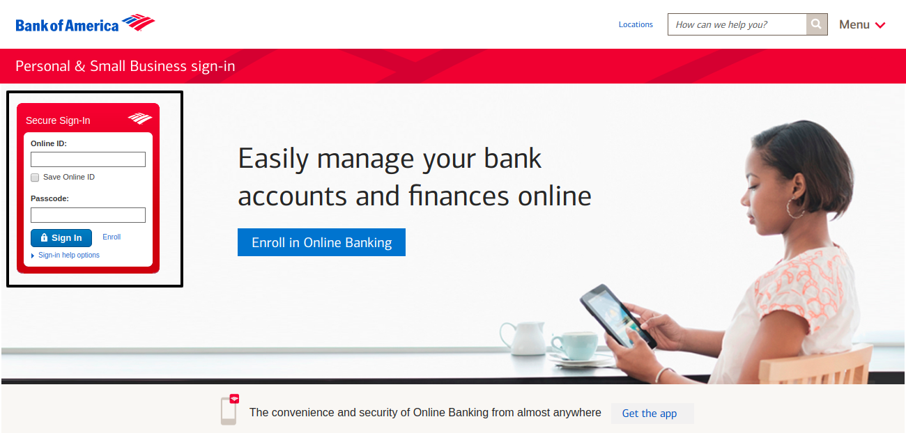 bank of america home page sign in