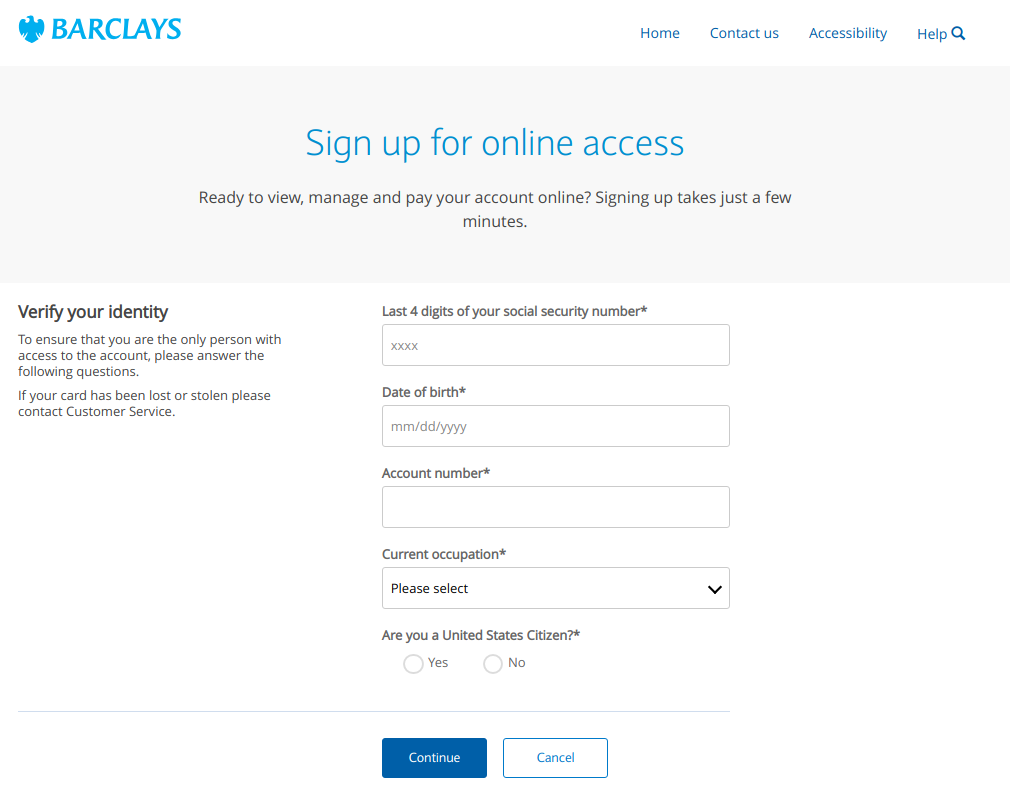Sign up for online access Verify identity