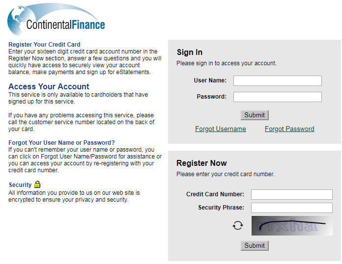 Get Access To Continental Finance Credit Card Online Account