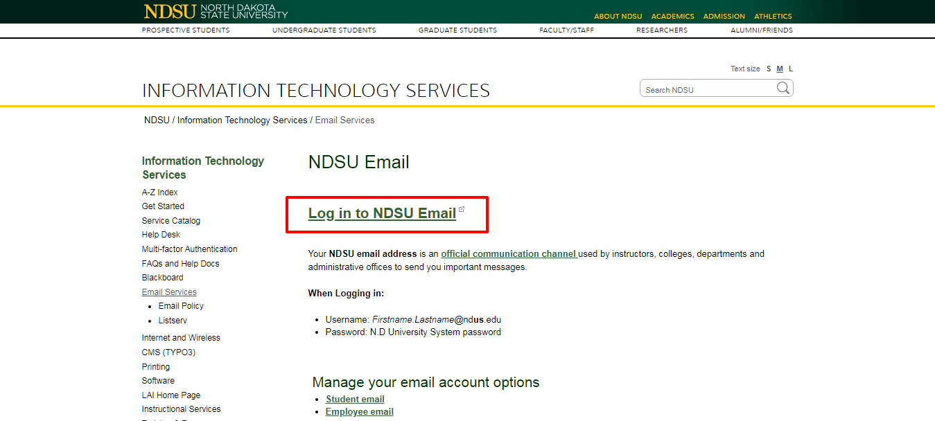 Email Services Information Technology Services NDSU