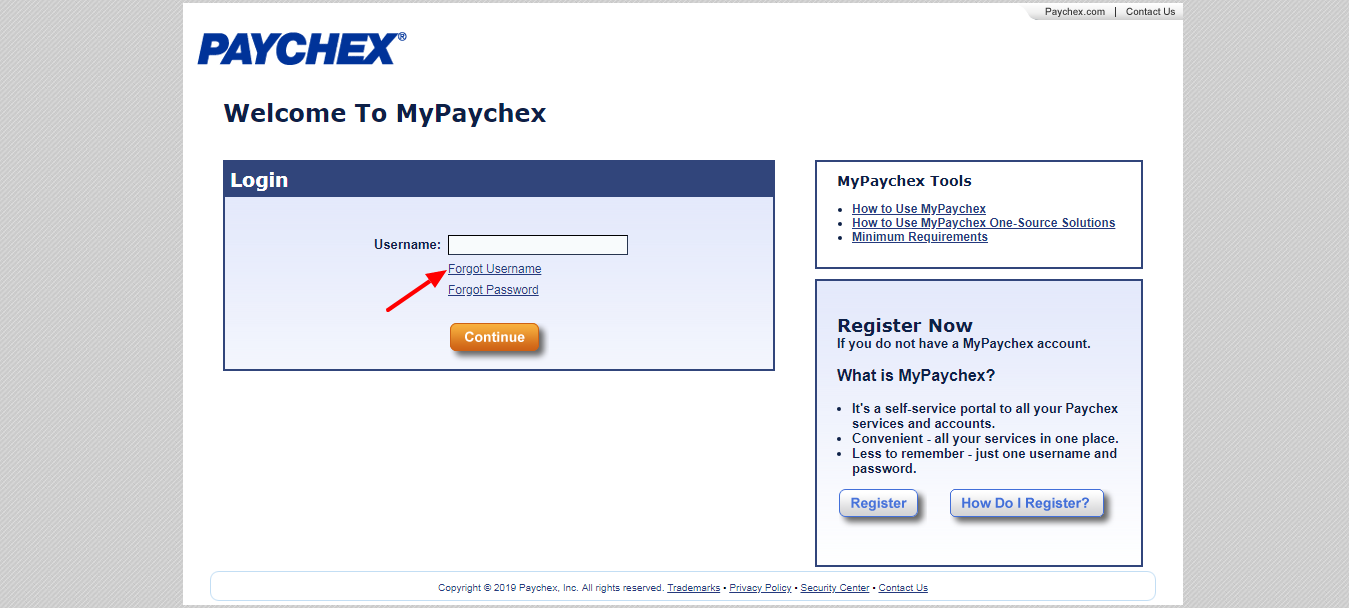 MyPaychex Forgot