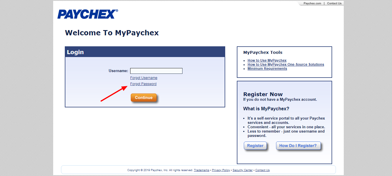 MyPaychex forgot password