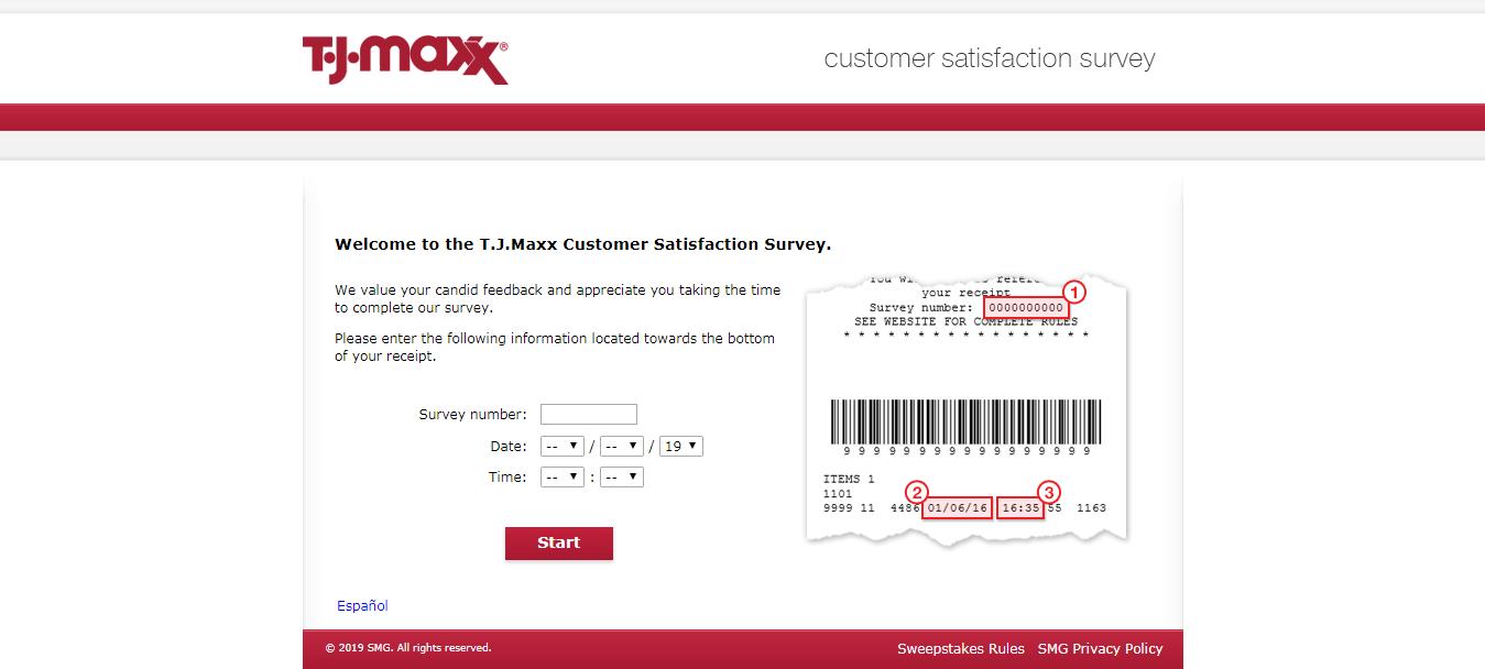 T J Maxx Customer Satisfaction Survey Welcome