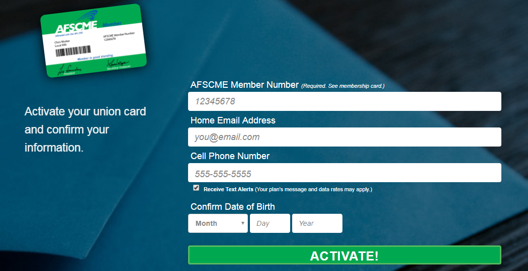 Activate The AFSCME Membership Online