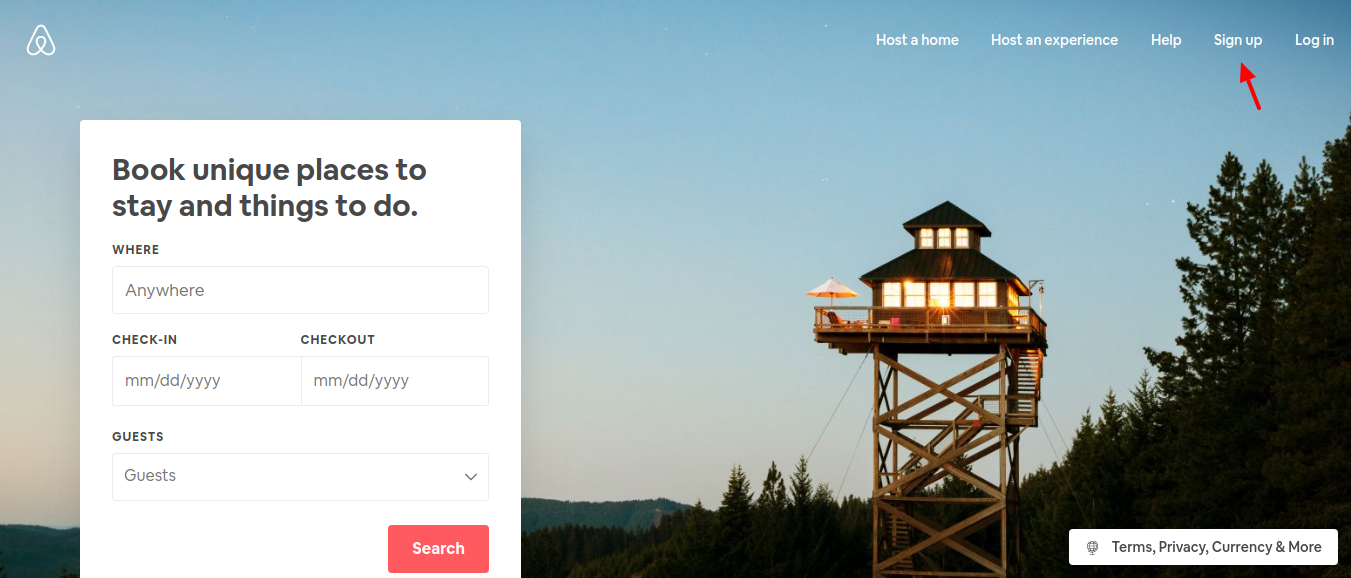 Airbnb-Gift-card-sign-up