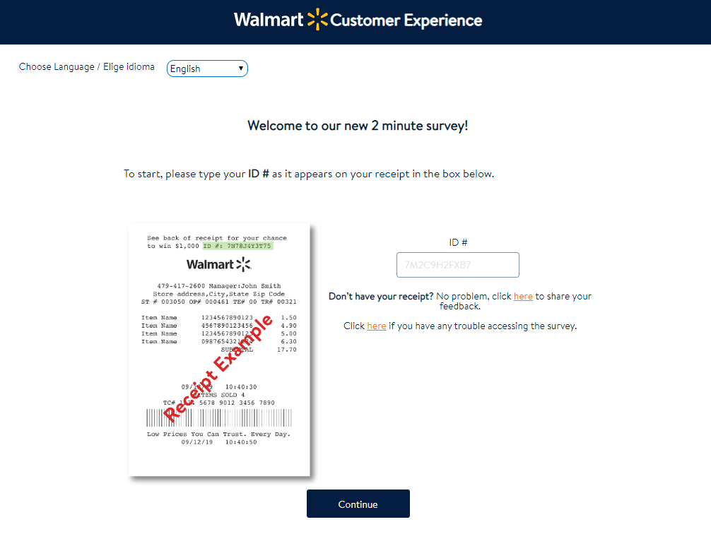 Walmart Customer Experience Survey