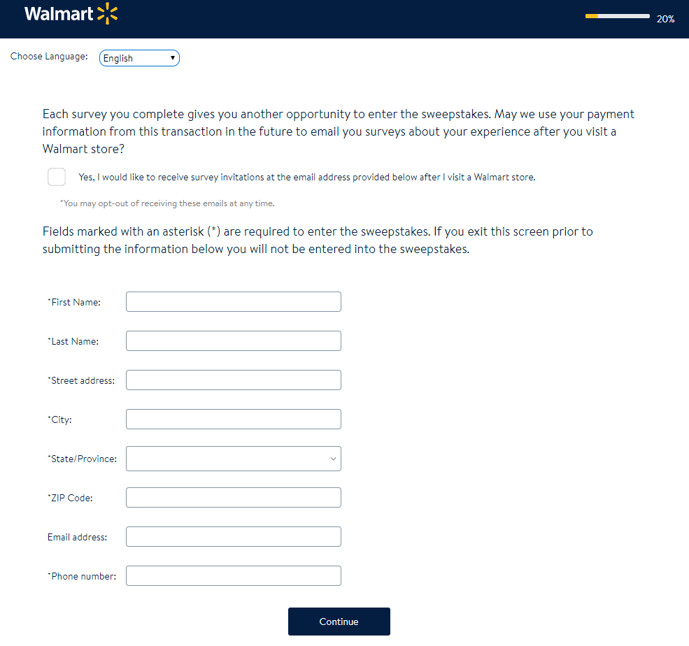 Walmart Customer Survey Entry without Purchase