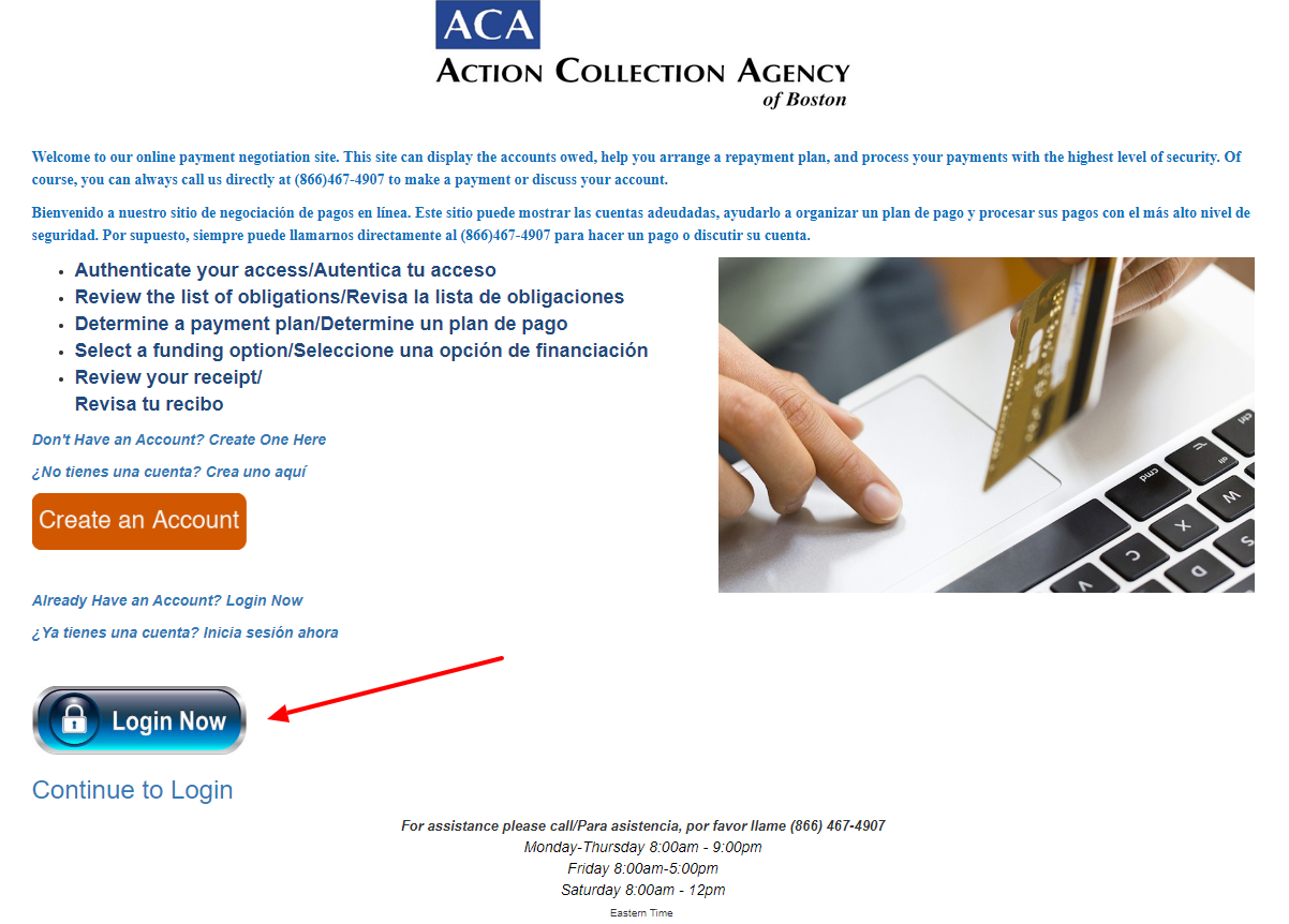 login ACA Payments Collection Portal