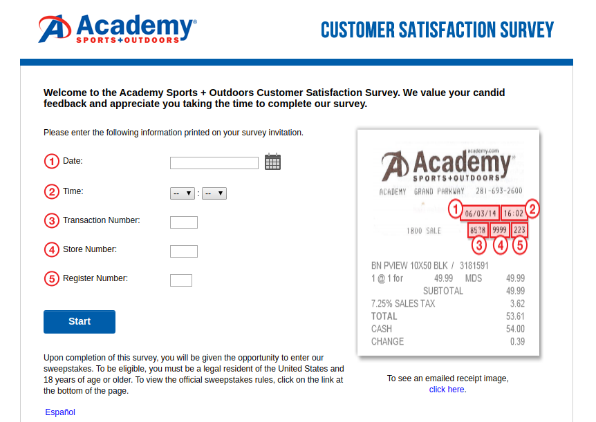 Academy Sports Customer Satisfaction Survey