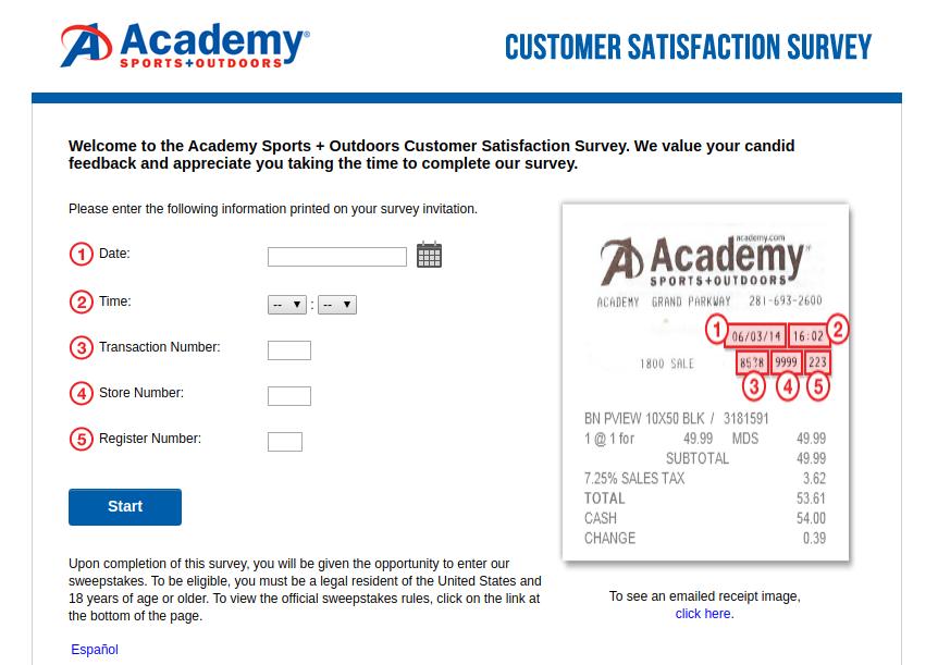 Academy Sports Customer Satisfaction Survey