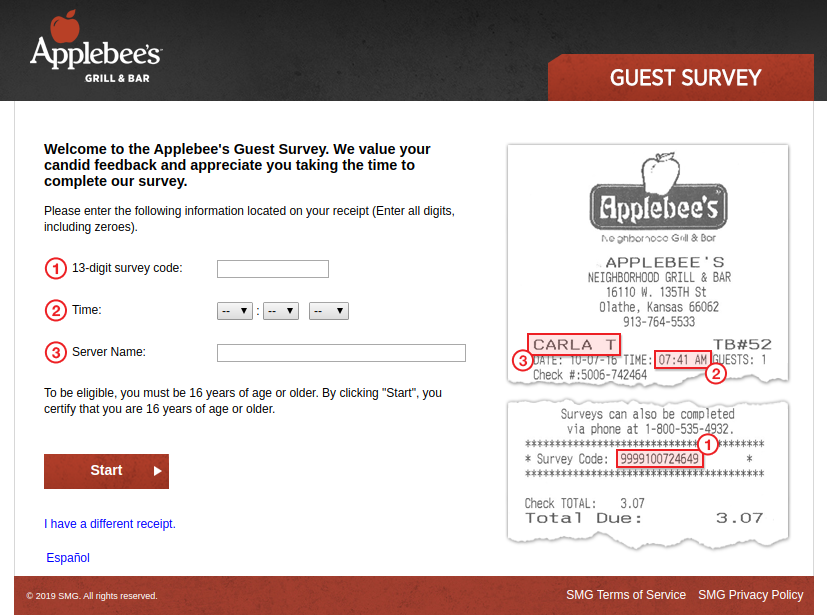 Applebee s Guest Survey