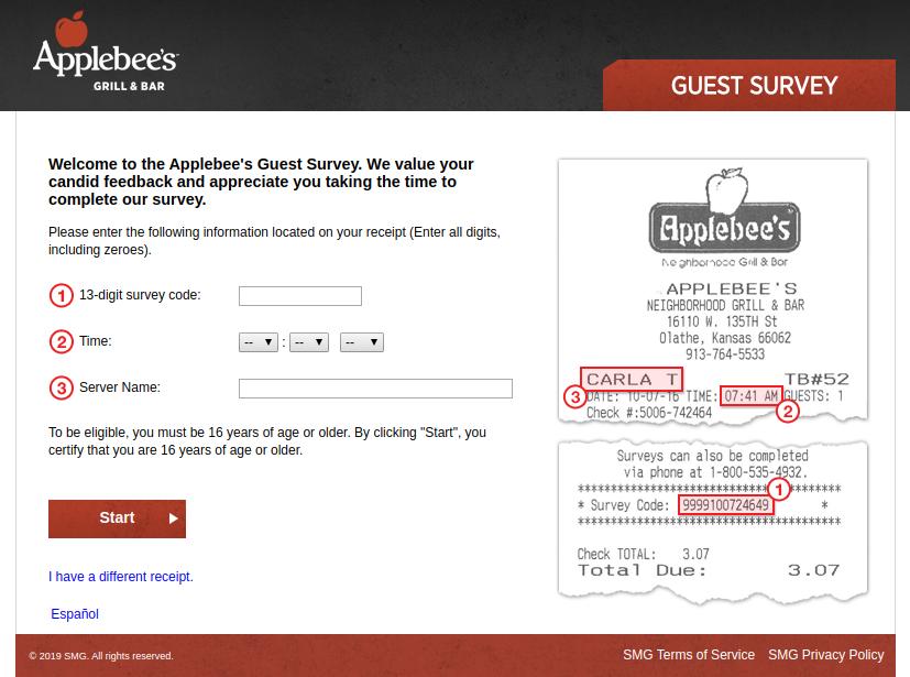 Applebee s Guest Survey