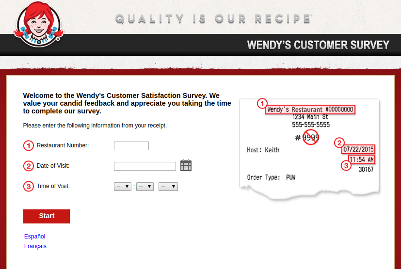 Wendy s Customer Survey