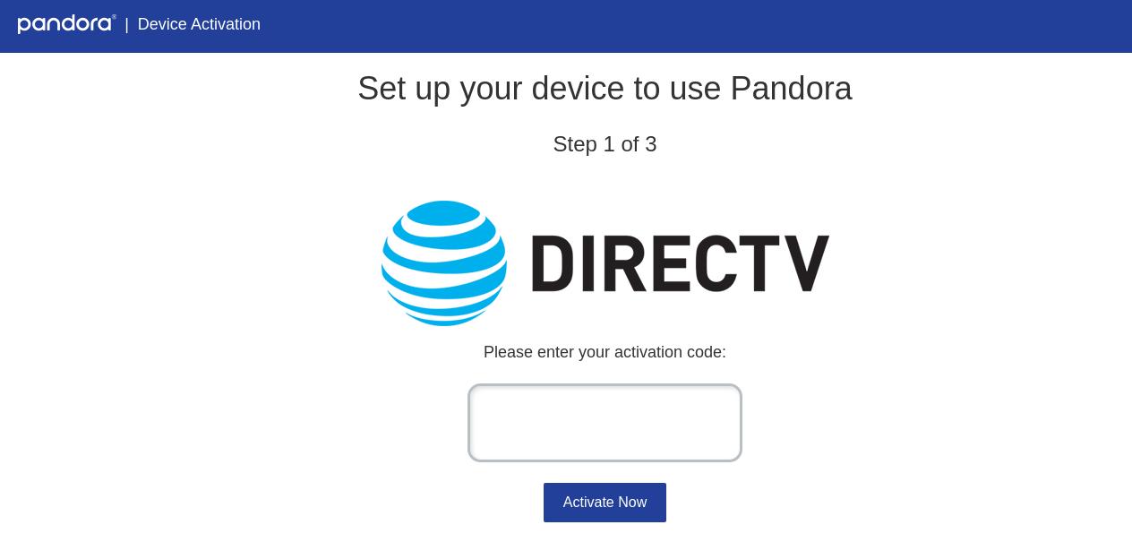 Pandora Device Activation
