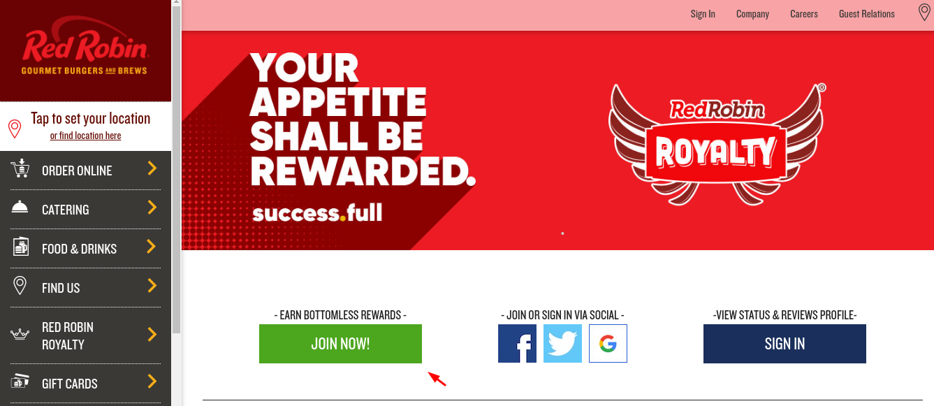 red robin join now