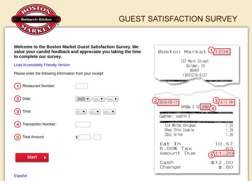 Boston Market Guest Satisfaction Survey