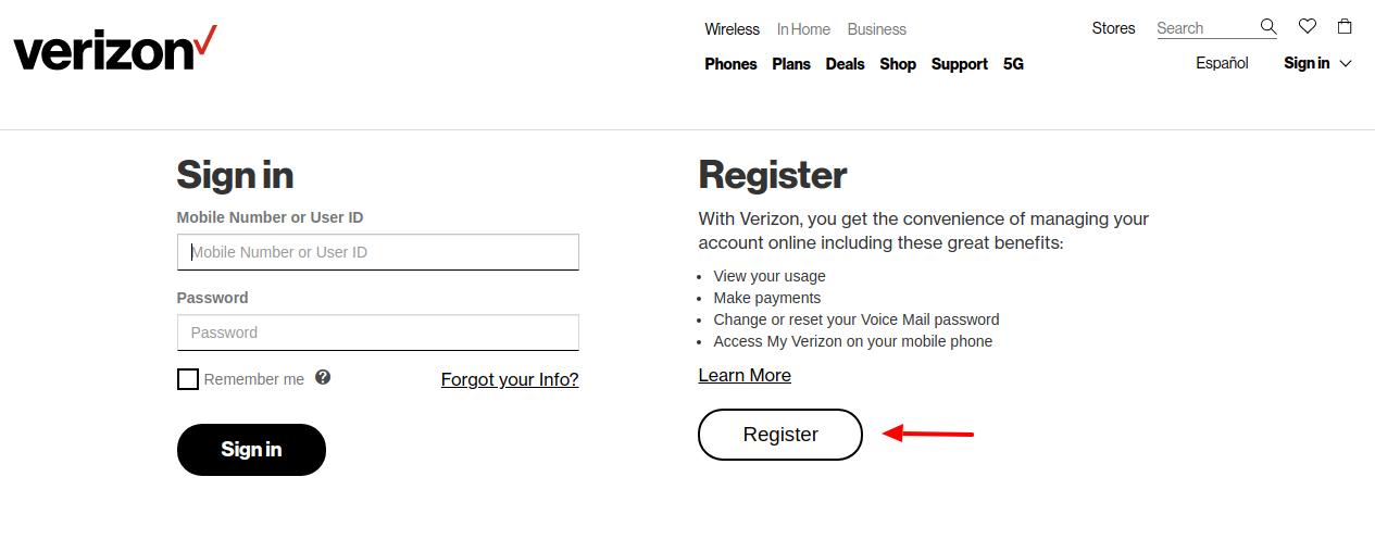 Verizon wireless Switch version register