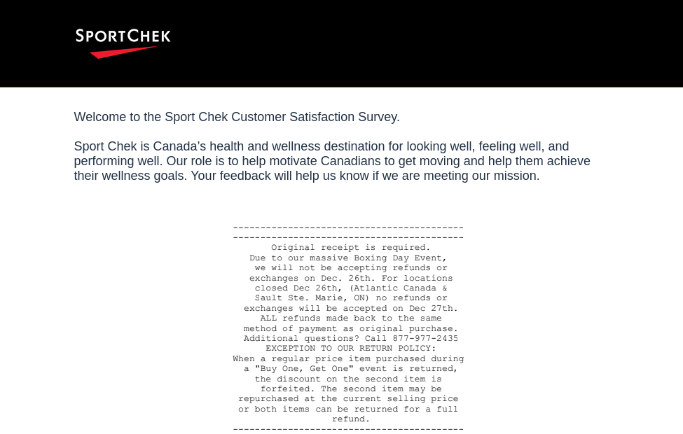 Sport Chek Survey