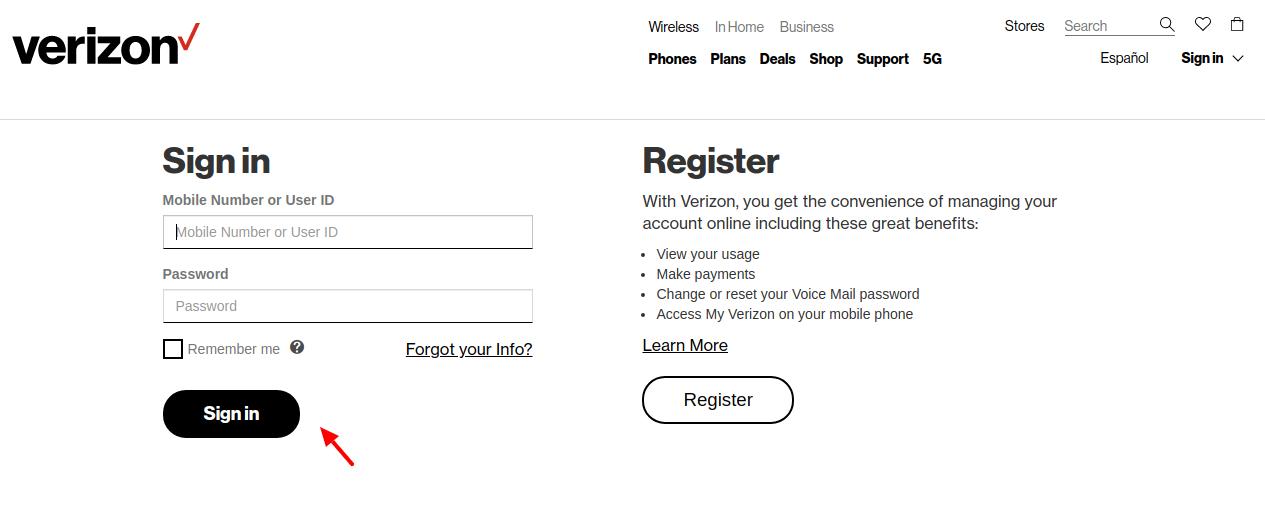 Verizon wireless Switch version Sign iN