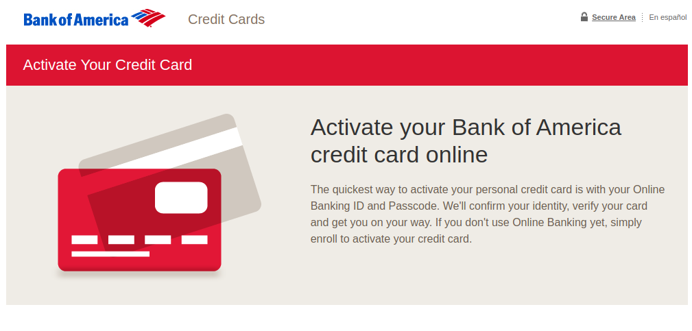 Bank of America Card Activation Logo