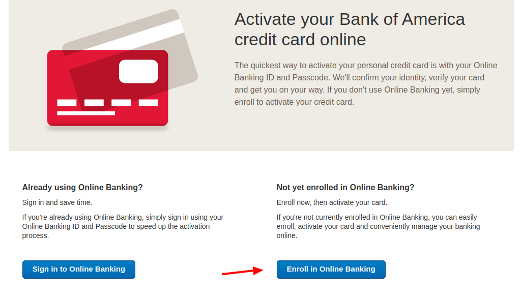 Bank of America Card Enroll