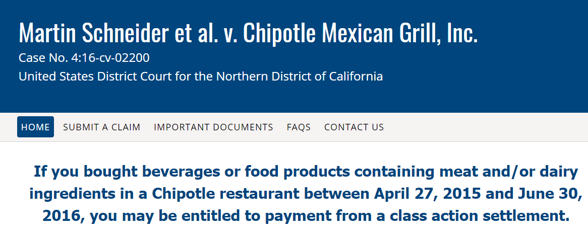 Claim Chipotle Non-GMO Class Action Online