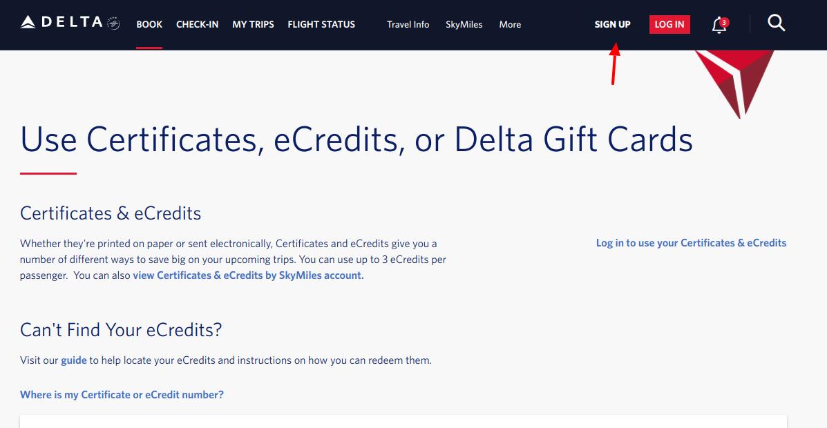 Delta Sign Up