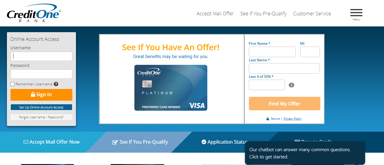 Credit One Bank Credit Card Online Login