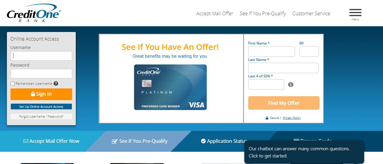 Credit One Bank Credit Card Online Login