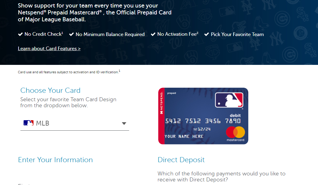 MLB Netspend Mastercard Prepaid Cards Apply