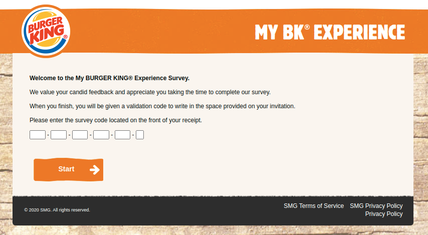 My BURGER KING Survey