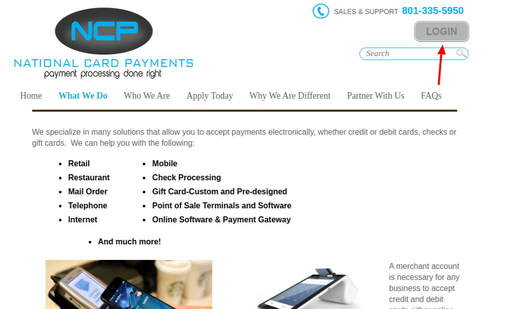national card payments login