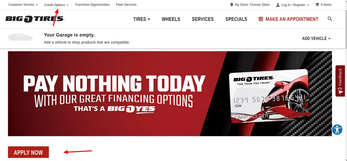 Big O Tires Card Apply