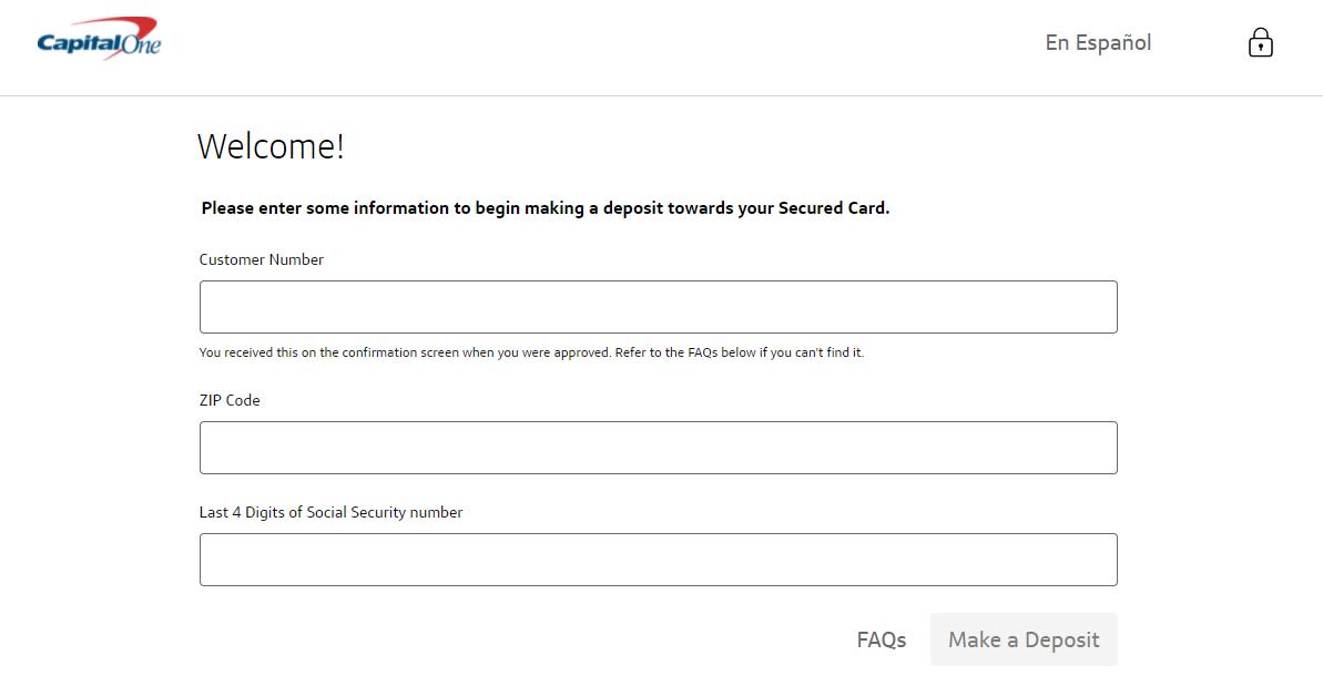capital one secured card login