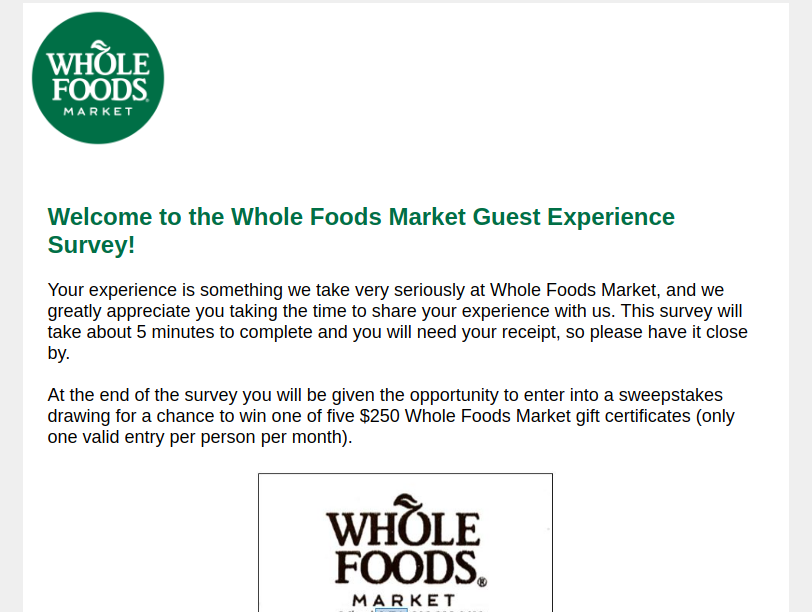 whole food market survey