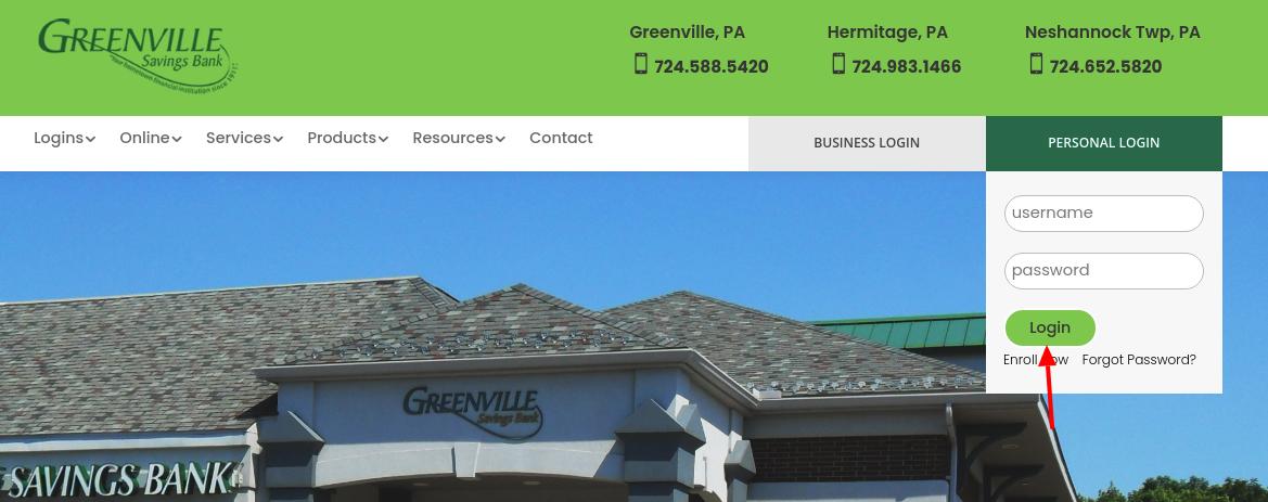 greenville savings bank login